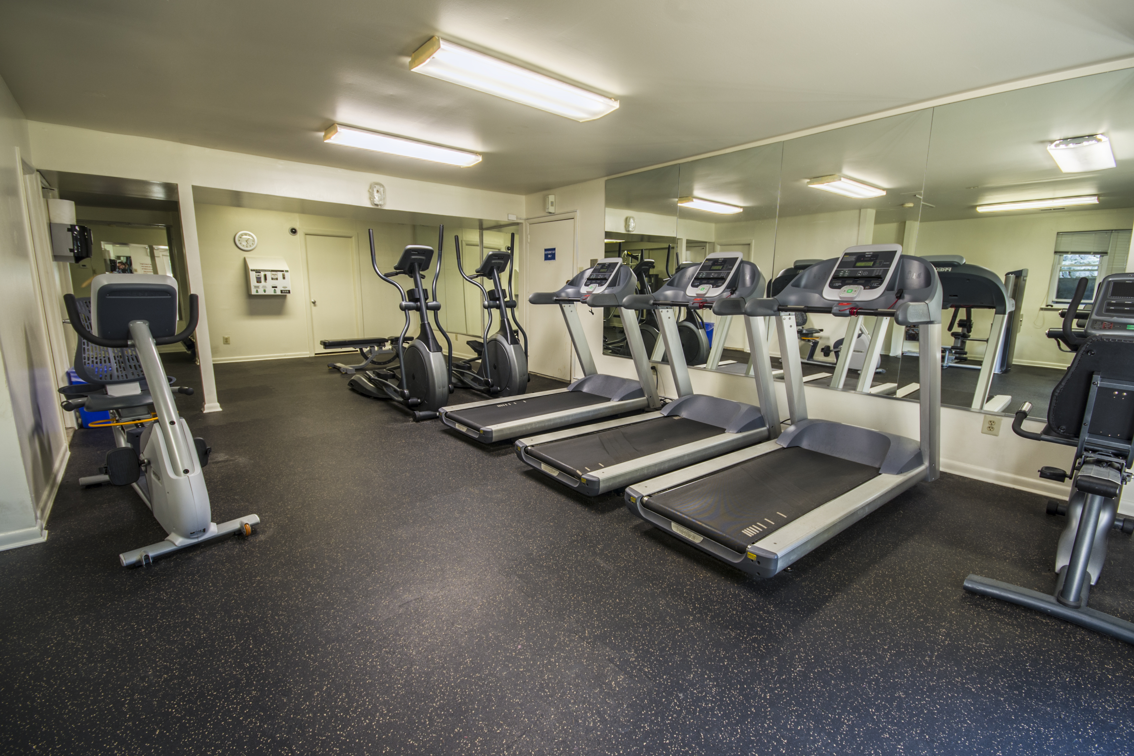 Fitness center with treadmills, ellipitcals, stationary bike, and free weights